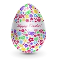 White egg with flowers vector image
