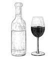 wine bottle and a glass of wine hand drawn sketch vector image