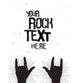 Rock hands silhouettes on concert poster template vector image