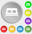 Sofa Icon sign Symbol on eight flat buttons vector image