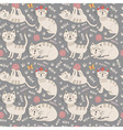 Funny seamless pattern with cute cats vector image
