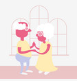 an old couple is dancing vector image