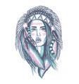 apache indian lady character vector image vector image