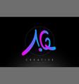 aq artistic brush letter logo handwritten vector image vector image