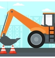 Background of excavator on construction site vector image vector image
