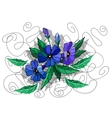 Beautiful abstract flowers in blue colors vector image