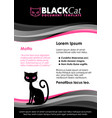 black and pink document template with cat symbol vector image vector image