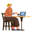 business lunch with laptop in coffeehouse vector image vector image