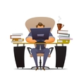 Businessman works hard at an office vector image