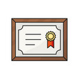 certificate line icon vector image