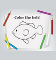 children fish coloring worksheet vector image vector image