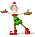 Christmas Elf Spreading Arms And Smiling vector image vector image