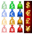 currency sack dollar usd euro eur pound gbp yen vector image vector image