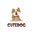cute dog thumb up mascot character logo icon vector image vector image