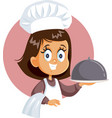 cute little chef girl holding cloche platter vector image vector image