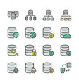 database system icon set in colorline design vector image vector image
