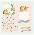 dino card maker floral cartoon seamless frame set vector image