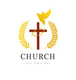 dove cross thorns church logo vector image vector image
