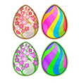 easter eggs with floral and striped pattern vector image vector image