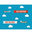 flying advertising banners pulled by light plane vector image vector image