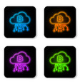 glowing neon cryptocurrency cloud mining icon vector image vector image