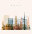 hamburg skyline detailed silhouette vector image vector image