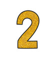 hand drawn golden number 2 isolated on white vector image vector image