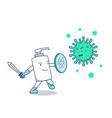 hand sanitizer soap bottle fight covid19 corona vector image vector image