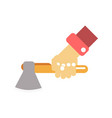 hand with axe vector image