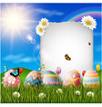 happy easter eggs with paper on grass background vector image vector image