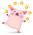 happy rich piggy character for chinese new year vector image vector image