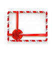 holiday stripe frame and ribbon vector image vector image