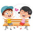 kids sitting on park bench vector image