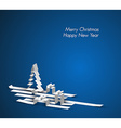 Merry Christmas card made from paper stripes vector image vector image