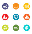 miniature toy icons set flat style vector image vector image
