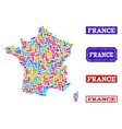 mosaic map of france and grunge stamps collage vector image