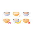 oat bowls cartoon porridge with strawberries and vector image vector image