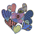 pattern of hearts ornate zentangle style vector image vector image
