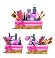 pink basket - cosmetic brushes lipstick perfume vector image