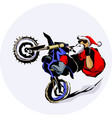 santa claus moto bike ride vector image
