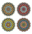 set of four flower mandalas in different colors vector image vector image