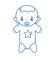 silhouette baby boy with pacifier and hairstyle vector image vector image