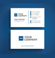 stylish business card - blue and white color vector image vector image