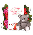 teddy bear with roses vector image vector image