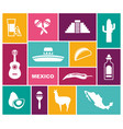 traditional symbols of mexico flat icons vector image vector image