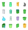 Trashcan icons set cartoon style vector image vector image