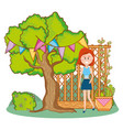 woman and gardening vector image vector image