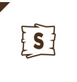 wooden alphabet or font blocks with letter s in vector image
