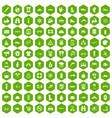 100 rafting icons hexagon green vector image vector image