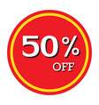 50 off discount price tag isolated vector image vector image